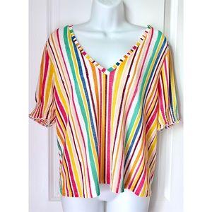 Zara Rainbow Striped Chiffon Short Sleeve Top